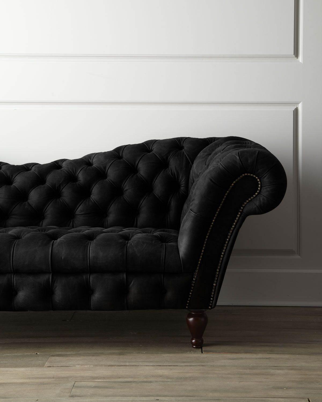 Delightful Black Velvet Couch
