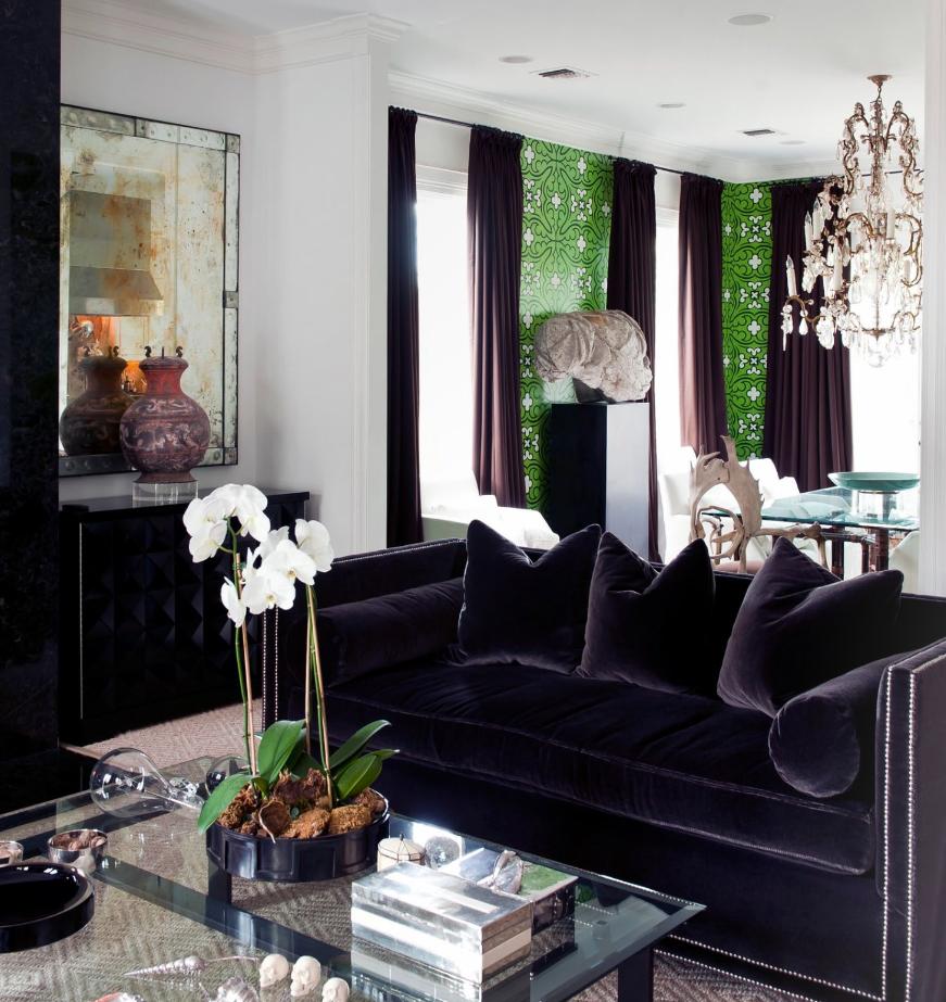 Attractive Black Velvet Sofa 10