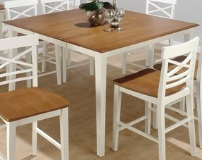 Brown square expandable dining table white woods legs and cool
