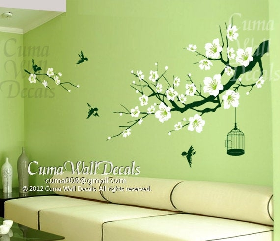 Cherry blossom wall decal birds wall