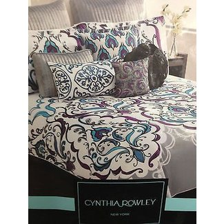 Cynthia rowley blue purple grey queen comforter 6pc set