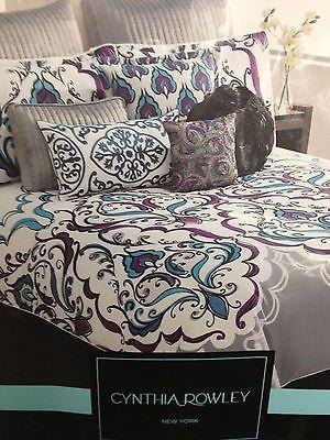 Beautiful Cynthia Rowley Blue Purple Grey Queen Comforter 6pc Set