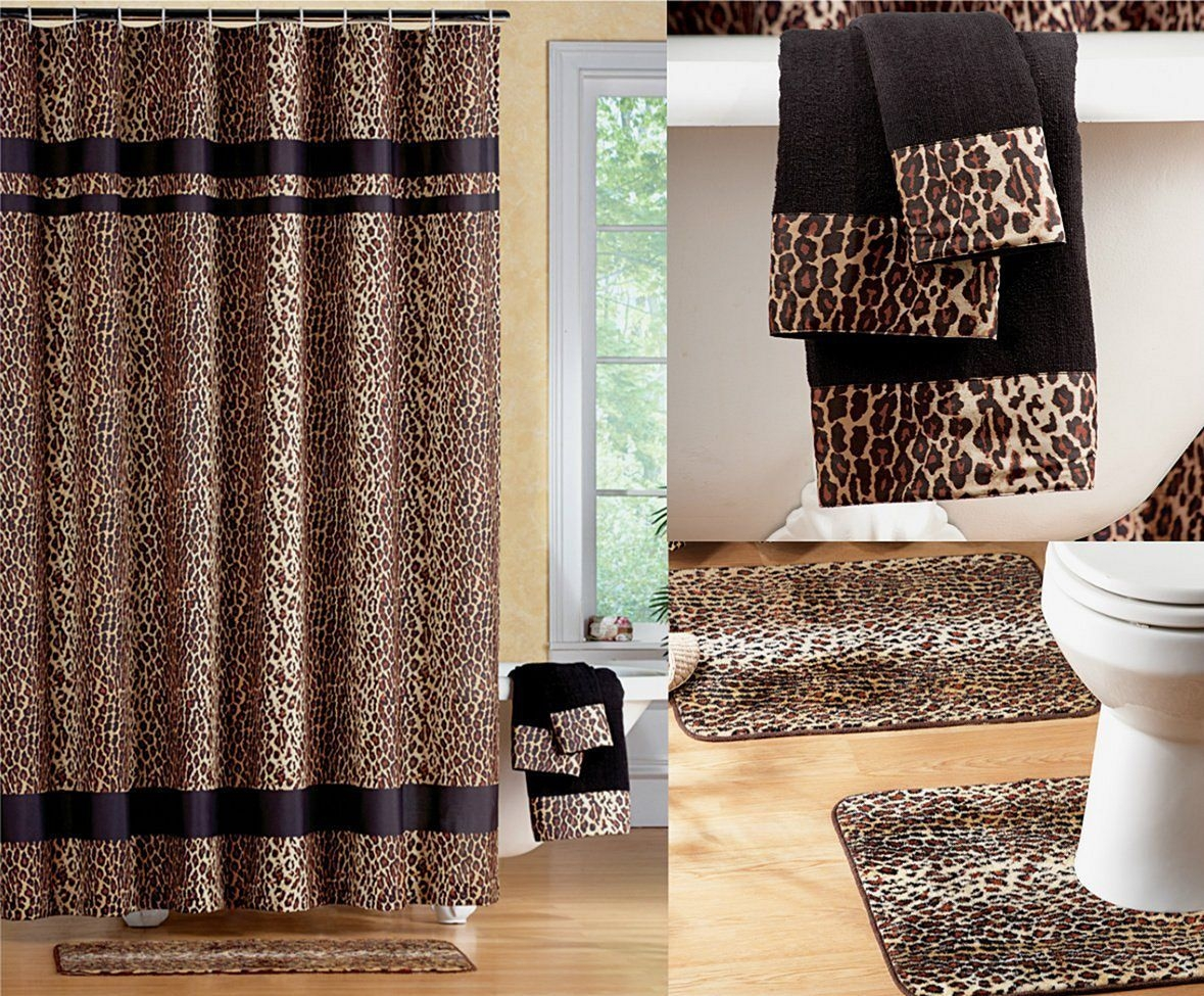 Fabulous Black Brown Jungle Animal Leopard Print Bathroom Shower Curtain