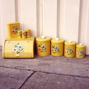Handpainted 1950s yellow floral ransburg