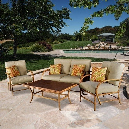 Island Bamboo 4 Piece Patio Conversation Set Seats 4