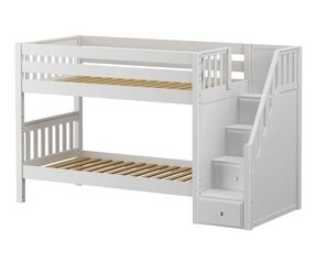 Low bunk beds with stairs