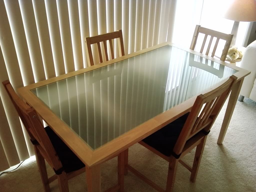 Nice Combination Wood And Glass Material Of Ikea Dining Table