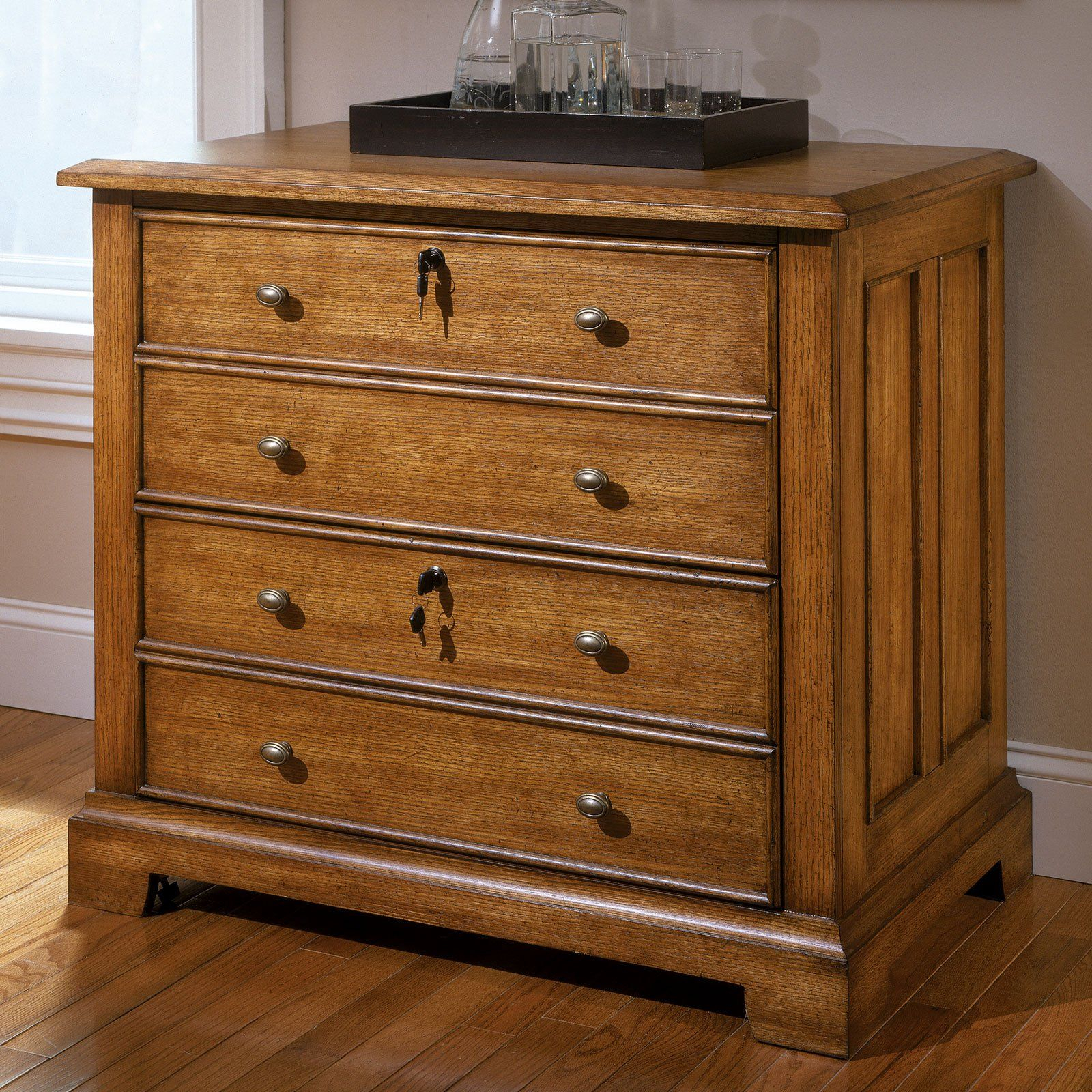 Oak Wood Lateral File Cabinet With 4 Drawer