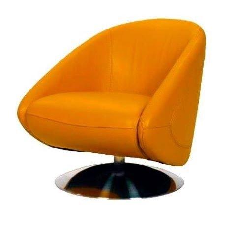 Orange Leather Jackson Swivel Chair