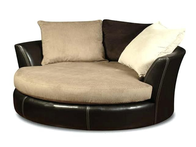 Merveilleux Oversized Round Swivel Chair Black
