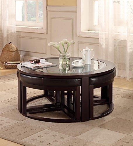 Round Coffee Table With Stools 12