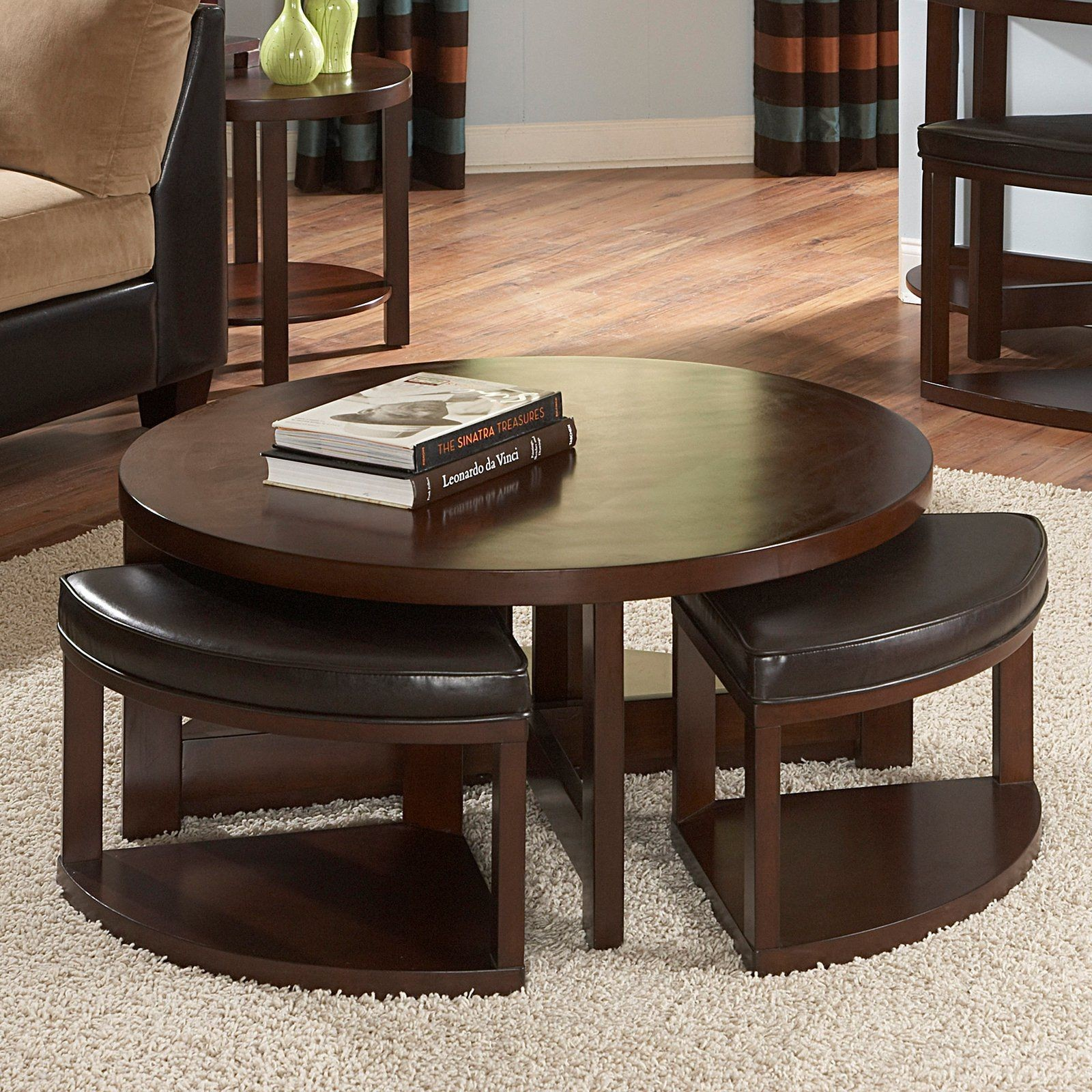 Awesome Round Coffee Table With Stools 4