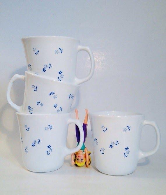 Set Of 4 Corning Corelle White 8 Oz Coffee Tea