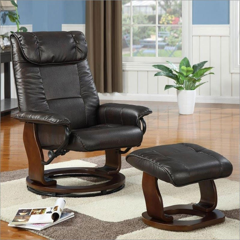 Marvelous Tc844 Leather Reclining Rocking Swivel Chair And Ottoman In Mocha