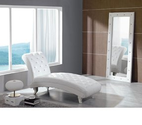 White Leather Chaise Foter