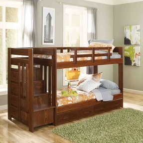 Twin over twin bunk beds with stairs 4