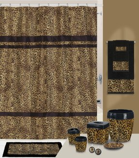 Zsa Leopard Print Shower Curtain And Hook Set
