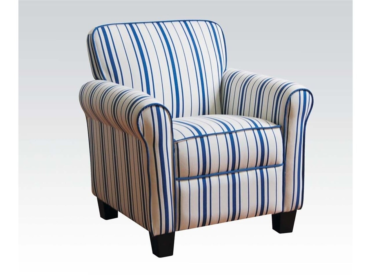 And Blue Striped Fabric Cozy Traditional Armchair Design 25 High