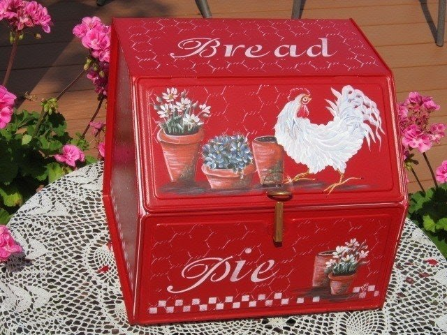 Antique Bread Box Pie Double Door Hp Rooster Country French Red Free Shipping