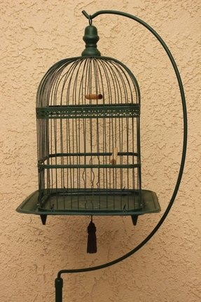Antique victorian hendryx bird cage birdcage w stand painted 66