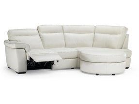 Curved leather sofa