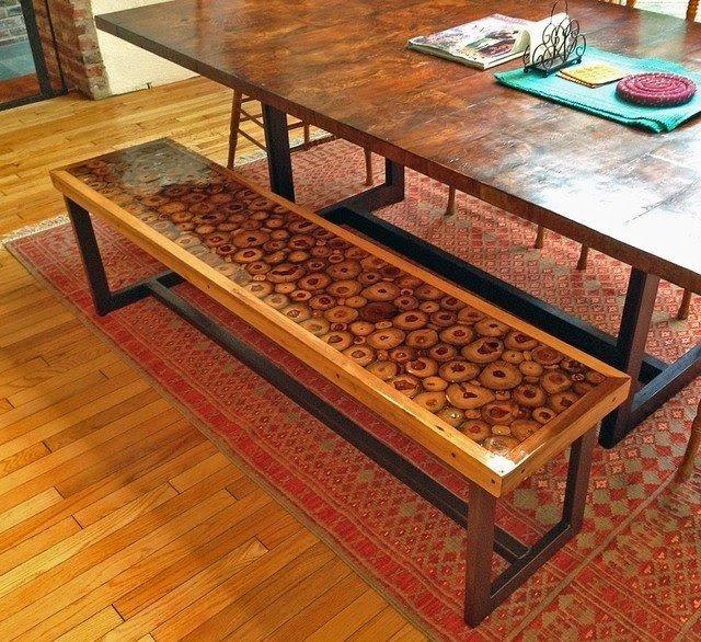 Custom Teak And Resin Dining Bench With Steel Legs Contemporary