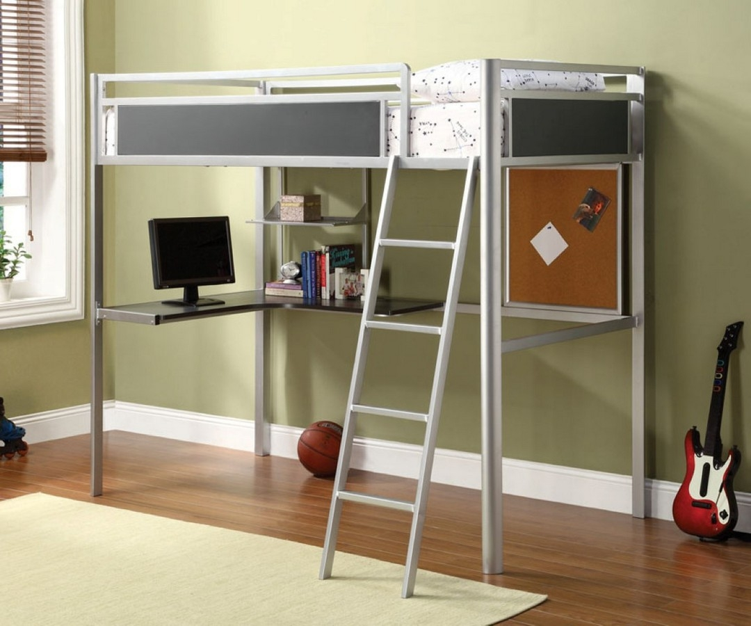Modern Twin Loft Chrome And Dark Gray Metal Bunk Bed With Desk Workstation