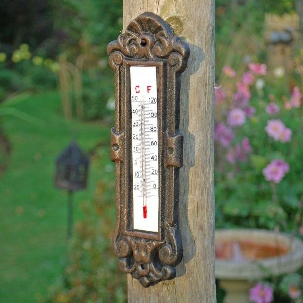 Outdoor thermometer decorative design for the wall in the garden