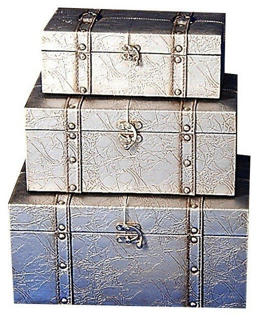 Superieur Set Of 3 Embossed Silver Trunks Eclectic Storage Boxes