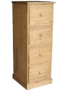 Solid Pine Wood Filing Cabinet 4 Drawer Handwaxed A4 Folio