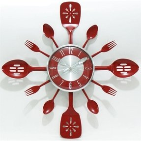 Stainless Steel Wall Clock Red Kitchen With Flatware