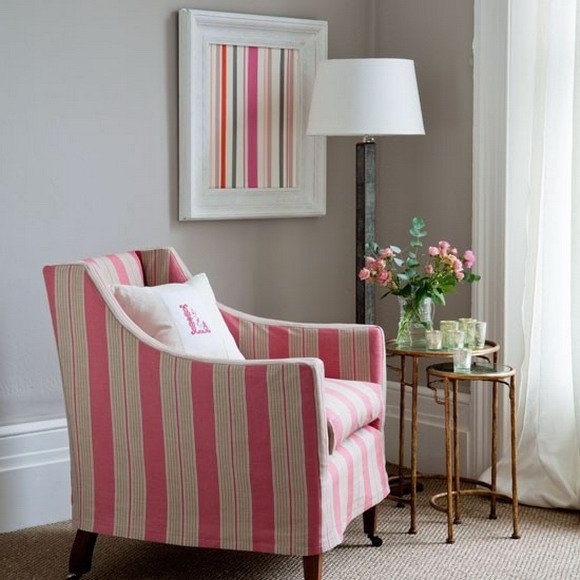 Charmant Striped Fabric Armchairs