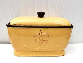 Tuscany Colorful Hand Painted Fleur De Lis Yellow Breadbox/Toast Jar, 82013 by ACK