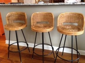 Vintage 1960s Rattan Swivel Bar Stools