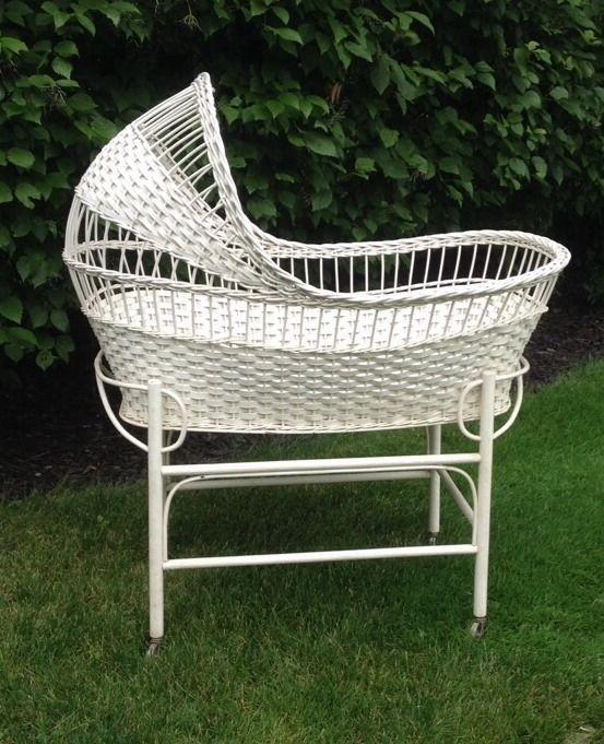 Vintage Bassinet Bedding. Wicker Furniture ...
