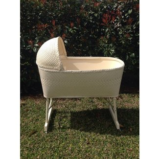 Vintage white wicker baby bassinet 1970s