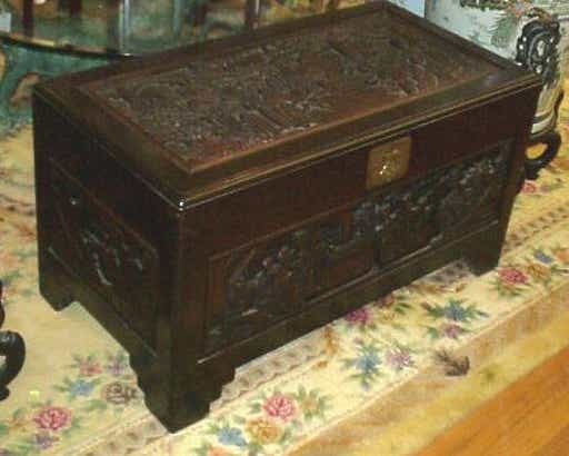 103c Carved Chinese Teak Trunk Chest