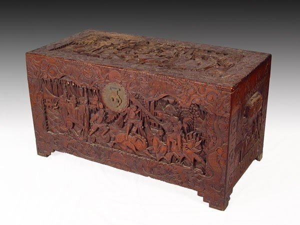 104 Chinese Carved Trunk Chest