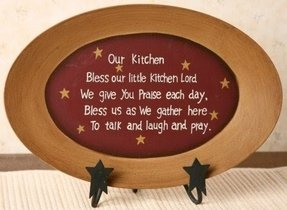 Bless Our Kitchen - Decorative Oval Plate, Wooden Platter ~ Country