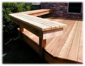 Cedar bench without a back