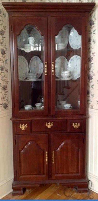 cherry corner curio cabinet foter rh foter com cherry wood curio cabinet with sliding door cherry wood curio cabinets sale