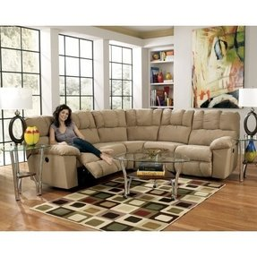 Design lakesha taupe 2 piece sectional with 2 recliners built