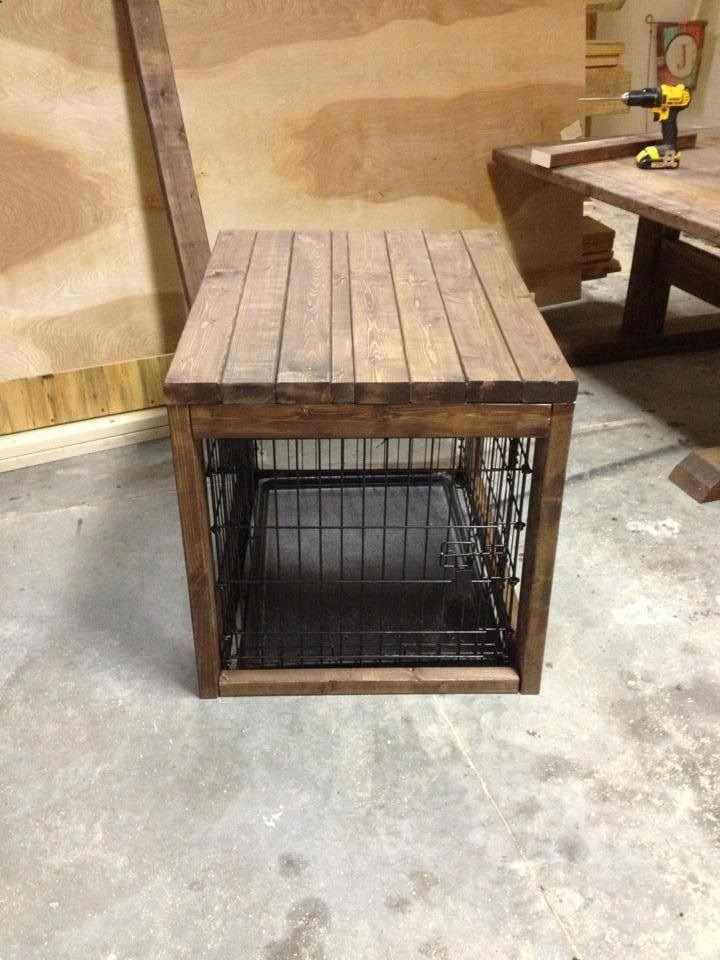 Dog Kennel End Table Crate For Extra Large Dogs Indoor Home Dec Wood Cage Black