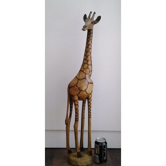 Giraffe statue tall wood hand carved out 1