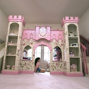 Girls princess playhouse bed with slide steps beds