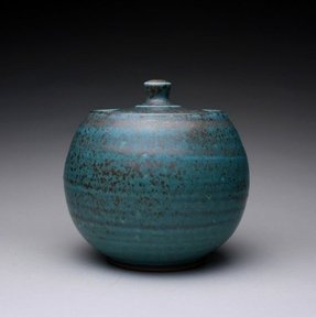 Handmade lidded jar sugar bowl with