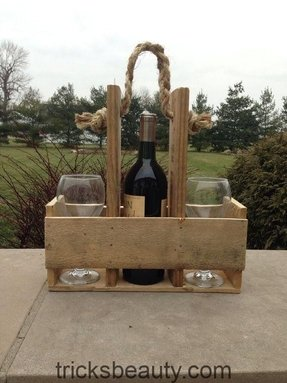 Handmade wood pallet wine bottle glass