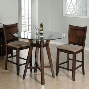 Kitchen table glass top cherry wood legs round dining table