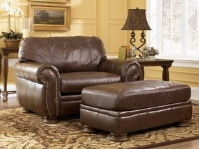 Leather Chair And A Half With Ottoman Foter