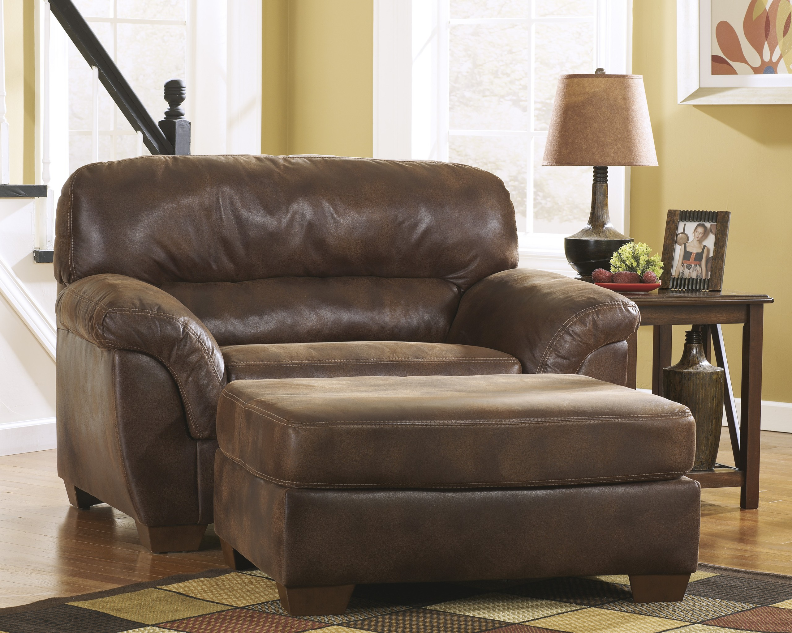 Awesome Leather Chair And A Half With Ottoman